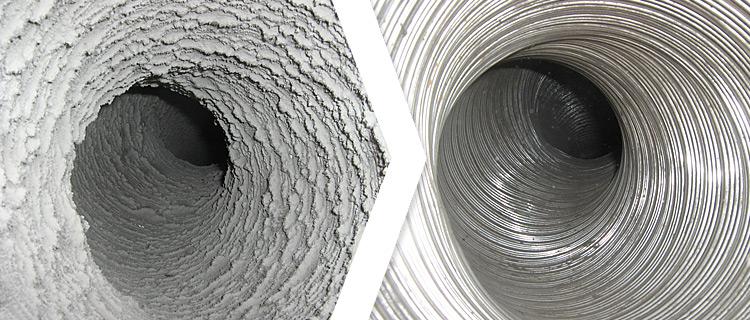 Abluftschacht Nach Brandschutztechnischer Reinigung Reinigungseffekt An  Einem Verstaubten Abluftrohr